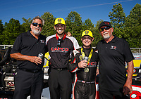 May 7, 2017; Commerce, GA, USA; NHRA top fuel driver Steve Torrence celebrates with crew members after winning the Southern Nationals at Atlanta Dragway. Mandatory Credit: Mark J. Rebilas-USA TODAY Sports