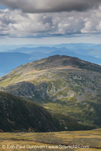 Looking across the Great Gulf Wilderness at Mount Jefferson from Mount Washington in the White Mountains, New Hampshire on a cloudy day. Named after Thomas Jefferson, the third president of the United States, Mount Jefferson is the third highest peak in New Hampshire.