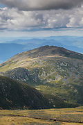 Looking across the Great Gulf Wilderness at Mount Jefferson from the summit of Mount Washington in the White Mountains, New Hampshire USA on a cloudy day.