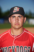 Batavia Muckdogs third baseman Alexander Fernandez (46) poses for a photo after a game against the Williamsport Crosscutters on July 16, 2015 at Dwyer Stadium in Batavia, New York.  Batavia defeated Williamsport 4-2.  (Mike Janes/Four Seam Images)