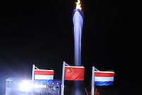 OLYMPICS: SOCHI: Medal Plaza, 14-02-2014, 1000m Ladies, vlaggen, olympische vlam, ©foto Martin de Jong