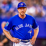 26 March 2018: Toronto Blue Jays first base coach Tim Leiper looks to the dugout during an exhibition game against the St. Louis Cardinals at Olympic Stadium in Montreal, Quebec, Canada. The Cardinals defeated the Blue Jays 5-3 in the first of two MLB pre-season games in the former home of the Montreal Expos. Mandatory Credit: Ed Wolfstein Photo *** RAW (NEF) Image File Available ***