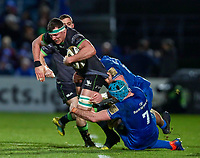 4th January 2020; RDS Arena, Dublin, Leinster, Ireland; Guinness Pro 14 Rugby, Leinster versus Connacht; Robin Copeland (Connacht) is tackled by Will Connors and Ryan Baird (Leinster)  - Editorial Use