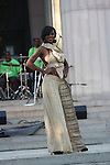"Model wearing designs by Elizabeth Carson Racker at ""A Great Day In Harlem"" Urban Fashion Fusion Showcase, NY 7/25/10"