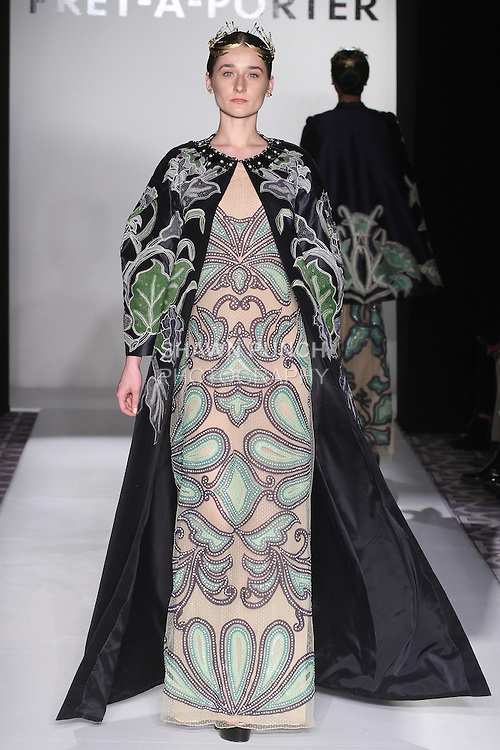 Model walks runway in an outfit from the Denny Wirawan Fall 2016 collection, for the Pret-A-Porter Fall Winter 2016 fashion show at Fashion Gallery New York Fashion Week, during New York Fashion Week Fall 2016.