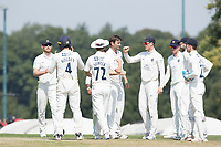 The Middlesex players celebrate after the fourth wicket falls on the final morning during Middlesex CCC vs Hampshire CCC, Bob Willis Trophy Cricket at Radlett Cricket Club on 11th August 2020