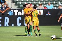 Carson, CA - Thursday August 03, 2017: Lisa De Vanna, Sam Kerr during a 2017 Tournament of Nations match between the women's national teams of Australia (AUS) and Brazil (BRA) at the StubHub Center.