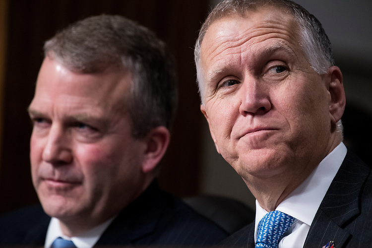 UNITED STATES - JANUARY 12: Sen. Dan Sullivan, R-Alaska, left, and Sen. Thom Tillis, R-N.C., listen as Secretary of Defense nominee James Mattis testifies during his confirmation hearing in the Senate Armed Services Committee on Thursday, Jan. 12, 2017. (Photo By Bill Clark/CQ Roll Call)