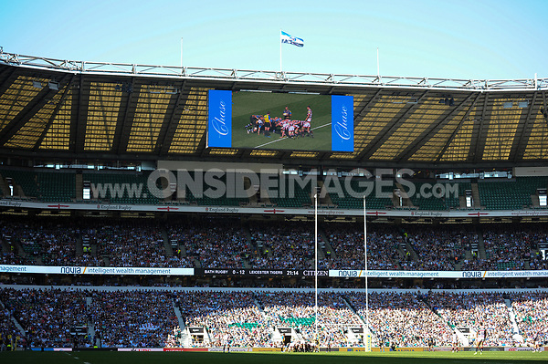 A general view of a big screen during the match. The Clash, Aviva Premiership match, between Bath Rugby and Leicester Tigers on April 8, 2017 at Twickenham Stadium in London, England. Photo by: Rob Munro / Onside Images