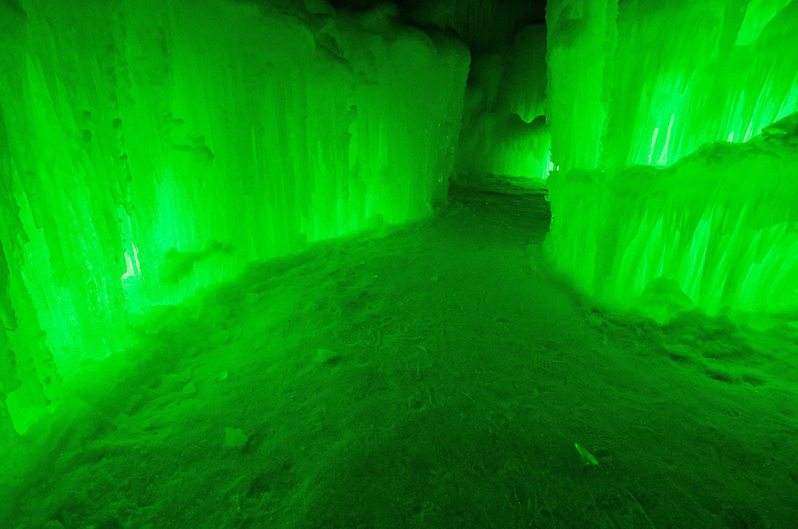 Glowing passages and corridors lead to numerous chambers inside the Ice Castle at Loon Mountain.