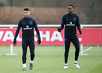 Alex Oxlade-Chamberlain of England and Danny Welbeck of England during the England National Team Training ahead of the international friendly match with Italy at Tottenham Hotspur Training Ground, Hotspur Way, England on 26 March 2018. Photo by Vince  Mignott.
