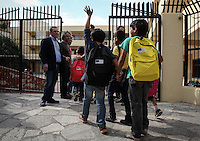 Pictured: Young migrant children on their first day at the Tavros 2nd Primary school in Athens Greece. Monday 10 October 2016<br /> Re: Children of refugees have started school in various parts of Greece.