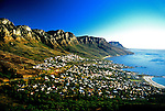 South Africa: Camps Bay and Twelve Apostles mountain seen from Lions Head Peak at Cape Town