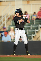 Tyler Frost (1) of the Kannapolis Intimidators at bat against the Lakewood BlueClaws at Kannapolis Intimidators Stadium on July 7, 2018 in Kannapolis, North Carolina. The Intimidators defeated the BlueClaws 4-3 in 10 innings.  (Brian Westerholt/Four Seam Images)