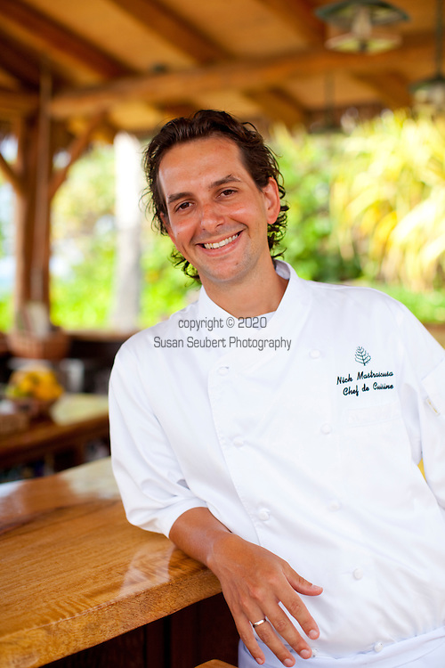 The Four Seasons Resort Hualalai at Historic Kaupulehu on the Big Island of Hawaii. Chef Nick Mastrascusa of the Beach Tree Restaurant.