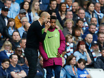 Josep Guardiola manager of Manchester City gives instructions to a ball boy during the premier league match at the Etihad Stadium, Manchester. Picture date 22nd September 2017. Picture credit should read: Simon Bellis/Sportimage