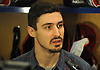 Chris Kreider of the New York Rangers speaks with the media in the locker room of Madison Square Garden Training Center in Greenburgh, NY on Tuesday, April 10, 2018.