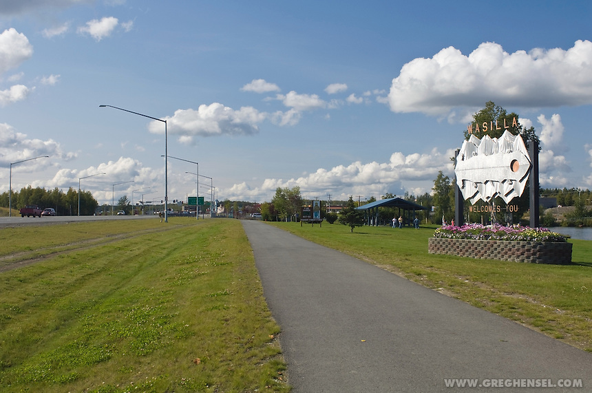 A sign welcomes visitors to the town of Wasilla, Alaska. Wasilla is the hometown of Alaska Governor Sarah Palin, who was picked by Senator John McCain to be the 2008 Republican nominee for Vice President.