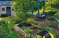 Colorful children's playhouse and garden