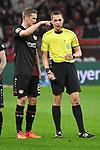 10.03.2018, BayArena, Leverkusen , GER, 1.FBL., Bayer 04 Leverkusen vs. Borussia Moenchengladbach<br /> im Bild / picture shows: <br /> Diskussion Schiedsrichter, referee Robert Hartmann (SR)Lars Bender (Leverkusen #8), <br /> <br /> <br /> Foto &copy; nordphoto / Meuter