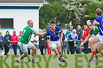 In Action St. Kierans Barry Lynch and Mid Kerry's Gavin O'Grady in the Kerry Senior County Football Championship Round 1St. Kierans V Mid Kerry game at Castleisland Desmonds GAA on Saturday