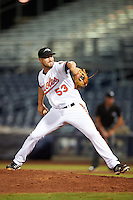 Peoria Javelinas pitcher Stefan Crichton (53), of the Baltimore Orioles organization, during a game against the Glendale Desert Dogs on October 18, 2016 at Peoria Stadium in Peoria, Arizona.  Peoria defeated Glendale 6-3.  (Mike Janes/Four Seam Images)