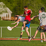 14 May 2015: Danny Watson scores the last point of the game with time running out as the Vermont Commons School Flying Turtles Ultimate Disk Team visits Champlain Valley Union High School at Farrell Park in South Burlington, Vermont. CVU edged out VCS 13-11. Mandatory Credit: Ed Wolfstein Photo *** RAW (NEF) Image File Available ***