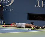 Serena Williams (USA) celebrates her win over Caroline Wozniacki (DEN) 6-3, 6-3