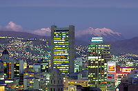South America ; travel ; skyline ; Mt. Illimani ; mount ; dusk ;. La Paz, Bolivia.