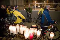 Cyclists wait in the Cathedral of St John the Divine in New York City, USA, before the start of the annual blessing of the bicycles, 22 April 2006. Several dozens cyclists, professional and recreational, and a few roller skaters attended the ceremony during which prayers were said for those who died in cycling accidents this year and to ask for a safe season.<br />
