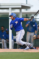 Toronto Blue Jays Andres Sotillo (5) during a minor league spring training game against the Pittsburgh Pirates on March 26, 2015 at Pirate City in Bradenton, Florida.  (Mike Janes/Four Seam Images)