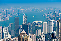 Hong Kong island skyscrapers and the bay