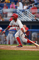 Auburn Doubledays outfielder Victor Robles (27) at bat during a game against the Batavia Muckdogs on September 5, 2015 at Dwyer Stadium in Batavia, New York.  Batavia defeated Auburn 6-3.  (Mike Janes/Four Seam Images)