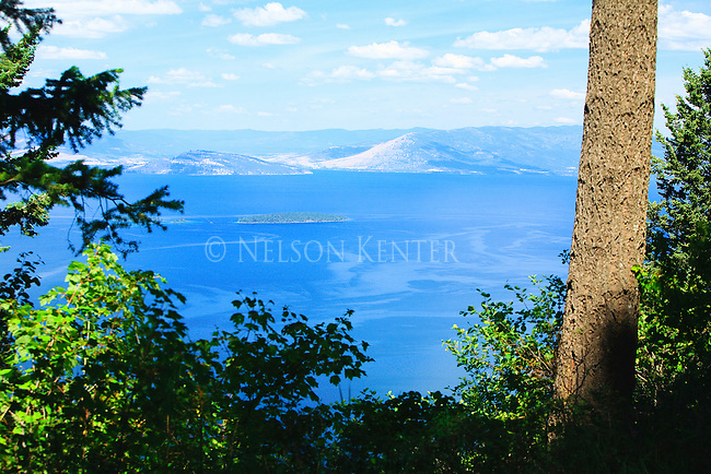 A view of Flathead Lake from the hills above