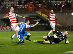 Hamilton Accies v St Johnstone&hellip;09.12.17&hellip;  New Douglas Park&hellip;  SPFL<br />Stefan Scougall puts the ball past Gary Woods to score for saints<br />Picture by Graeme Hart. <br />Copyright Perthshire Picture Agency<br />Tel: 01738 623350  Mobile: 07990 594431