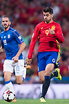 Alvaro Morata (L) of Spain fights for the ball with Andrea Barzagli (R) of Italy during their 2018 FIFA World Cup Russia Final Qualification Round 1 Group G match between Spain and Italy on 02 September 2017, at Santiago Bernabeu Stadium, in Madrid, Spain. Photo by Diego Gonzalez / Power Sport Images