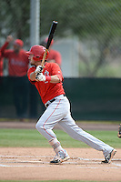 Los Angeles Angels of Anaheim third baseman Zach Houchins (14) during an Instructional League game against the Arizona Diamondbacks on October 7, 2014 at Salt River Fields at Talking Stick in Scottsdale, Arizona.  (Mike Janes/Four Seam Images)