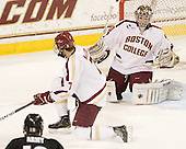 Isaac MacLeod (BC - 7), Chris Venti (BC - 30) - The Boston College Eagles defeated the Providence College Friars 7-0 on Saturday, February 25, 2012, at Kelley Rink at Conte Forum in Chestnut Hill, Massachusetts.