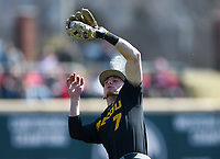 NWA Democrat-Gazette/CHARLIE KAIJO University of Missouri infielder Chris Cornelius (7) makes a catch during a baseball game, Sunday, March 17, 2019 at Baum-Walker Stadium in Fayetteville.