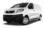 Stock pictures of low aggressive front three quarter view of 2016 Peugeot Expert Premium 4 Door Cargo Van Low Aggressive