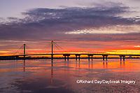 63895-15605 Clark Bridge at sunrise over Mississippi River Alton, IL