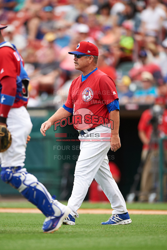 Buffalo Bisons manager Gary Allenson (5) walks to the mound during a game against the Scranton/Wilkes-Barre RailRiders on July 2, 2016 at Coca-Cola Field in Buffalo, New York.  Scranton defeated Buffalo 5-1.  (Mike Janes/Four Seam Images)