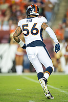 Landover, MD - August 24, 2018: Denver Broncos linebacker Shane Ray (56) celebrates sacking the quarterback during preseason game between the Denver Broncos and Washington Redskins at FedEx Field in Landover, MD. The Broncos defeat the Redskins 29-17. (Photo by Phillip Peters/Media Images International)