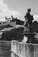 europe,germany,wurzburg,Marienberg Fortress,Main River,statues on Alte Mainbrucke