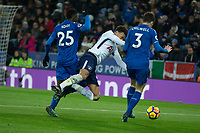 Dele Alli of Tottenham is fouled by Wilfred Ndidi of Leicester Cityduring the Premier League match between Leicester City and Tottenham Hotspur at the King Power Stadium, Leicester, England on 28 November 2017. Photo by James Williamson / PRiME Media Images.