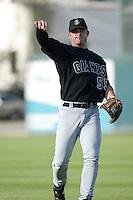 Brian Buscher of the San Jose Giants before a 2004 season California League game against the Inland Empire 66ers at San Manuel Stadium in San Bernardino, California. (Larry Goren/Four Seam Images)