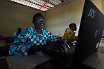 A student in a computer class in the Arrupe Learning Center, run by Jesuit Refugee Service in Bunj, South Sudan. Participants come from four refugee camps in Maban County that together shelter more than 130,000 refugees from the Blue Nile region of Sudan, along with local residents from the host community.<br /> <br /> Misean Cara provides support for the work of Jesuit Refugee Service in Maban.