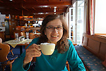 Beth having coffee in Stuben restaurant, St Anton, Austria,