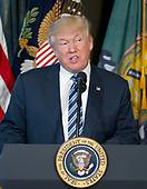 United States President Donald J. Trump makes remarks prior to signing Executive Orders concerning financial services at the Department of the Treasury in Washington, DC on April 21, 2017.<br /> Credit: Ron Sachs / Pool via CNP