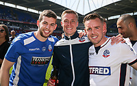 Bolton Wanderers' Jon Flanagan, Stephen Darby and Craig Noone<br /> <br /> Photographer Andrew Kearns/CameraSport<br /> <br /> The EFL Sky Bet Championship - Bolton Wanderers v Nottingham Forest - Sunday 6th May 2018 - Macron Stadium - Bolton<br /> <br /> World Copyright &copy; 2018 CameraSport. All rights reserved. 43 Linden Ave. Countesthorpe. Leicester. England. LE8 5PG - Tel: +44 (0) 116 277 4147 - admin@camerasport.com - www.camerasport.com